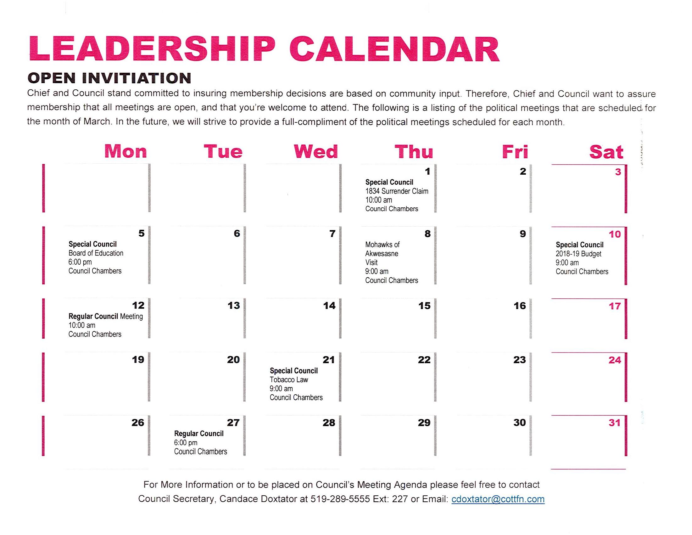 Leadership Meetings march-2018