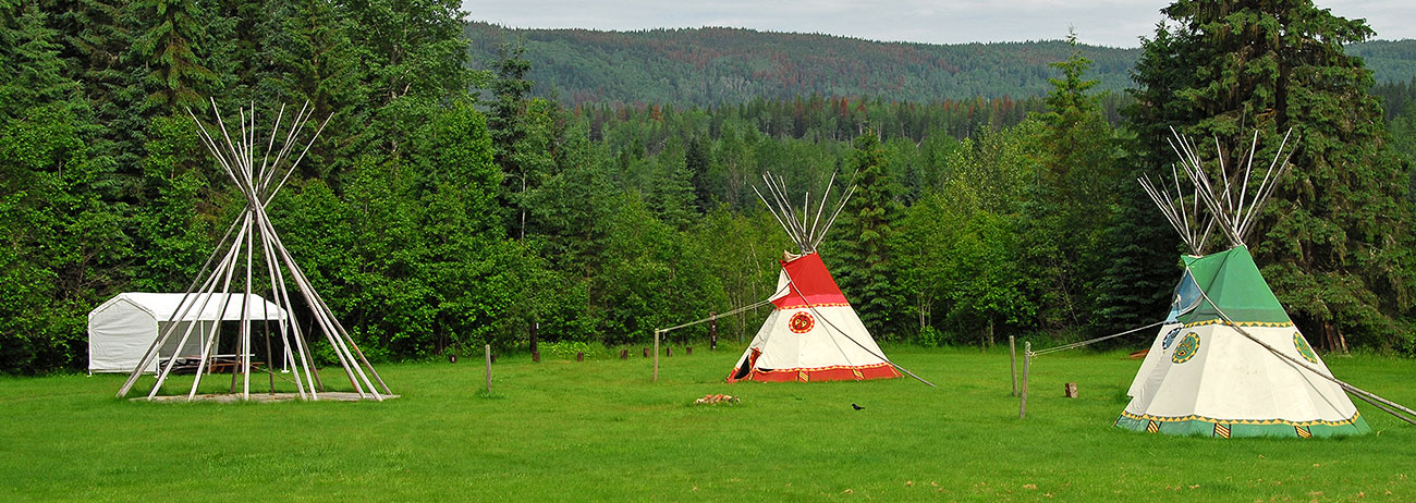 Tipi's in a open field.
