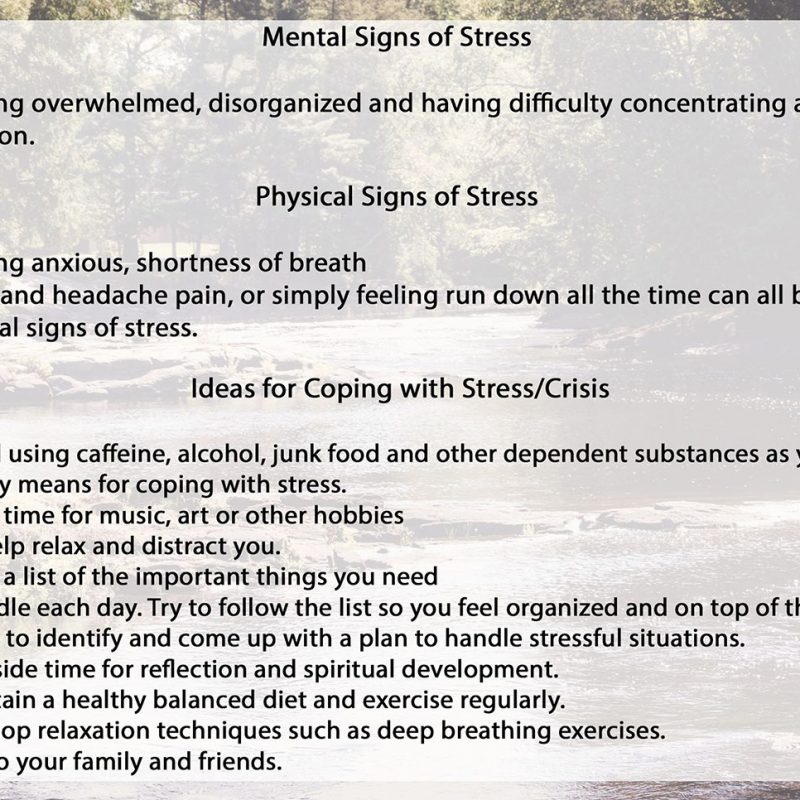 Mental sign of stress
