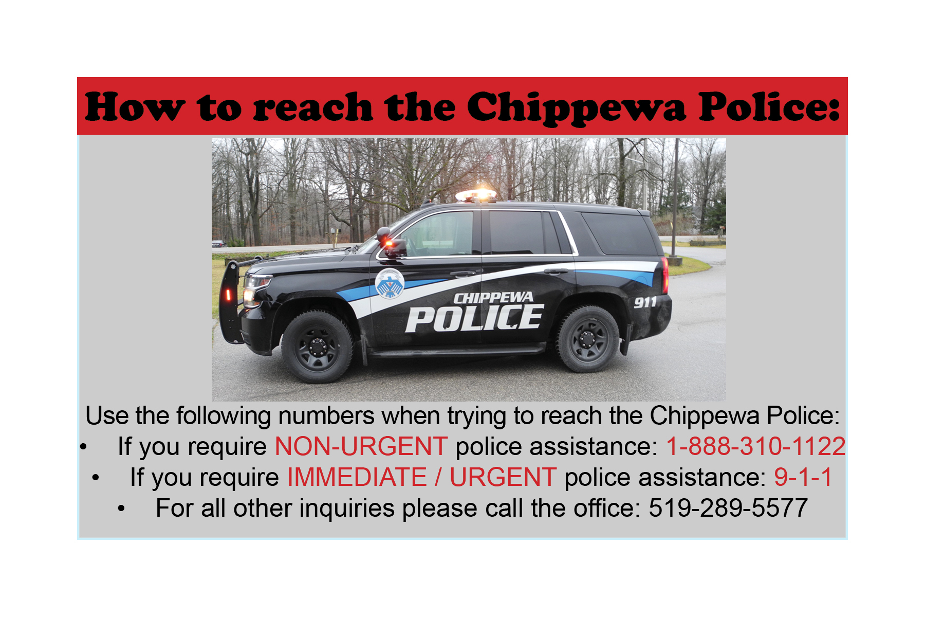 How to reach the Chippewa Police information